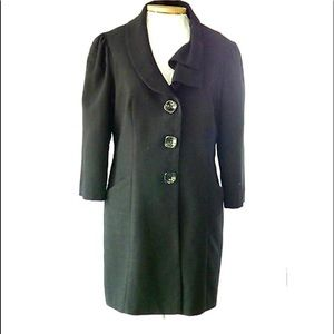 Zinc Black Lined Coat With Cascading Collar